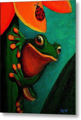 Frog And Ladybug Metal Print by Nick Gustafson