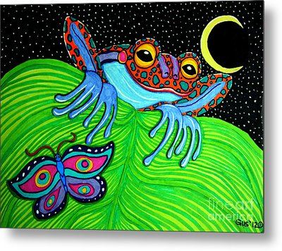 Frog Moon And Butterfly Metal Print by Nick Gustafson