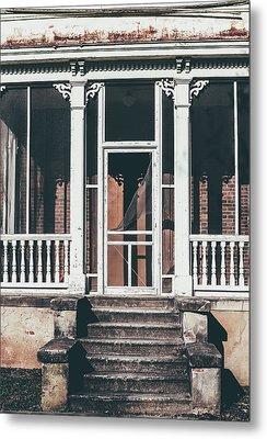 Front Door Of Abandoned Building Metal Print by Kim Hojnacki