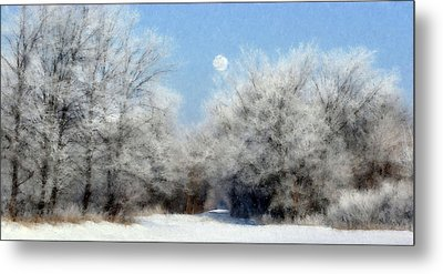Frosty Moon Trail Metal Print by John Hix