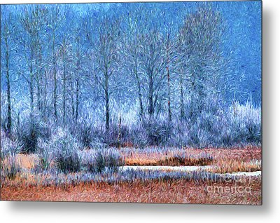 Metal Print featuring the digital art Frosty Morning At The Marsh Photo Art by Sharon Talson