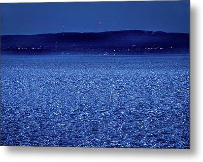 Frozen Bay At Night Metal Print by Onyonet  Photo Studios