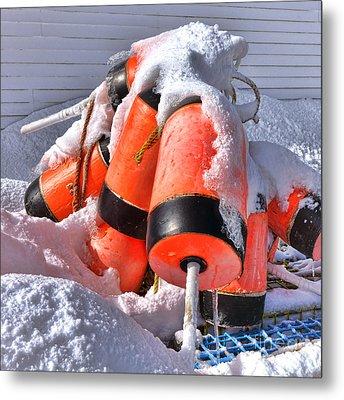 Frozen Lobster Trap Buoys In Winter Metal Print by Olivier Le Queinec
