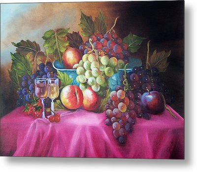Fruit And Wine On Mauve Cloth Metal Print