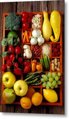 Fruits And Vegetables In Compartments Metal Print