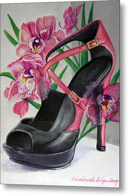 Fuchsia Orchid Colour Block Metal Print by Karon Melillo DeVega