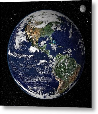 Full Earth Showing North And South Metal Print by Stocktrek Images