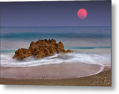 Full Moon Over Ocean And Rocks Metal Print by Melinda Moore