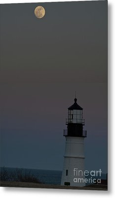 Full Moon Over Portland Headlight. Metal Print