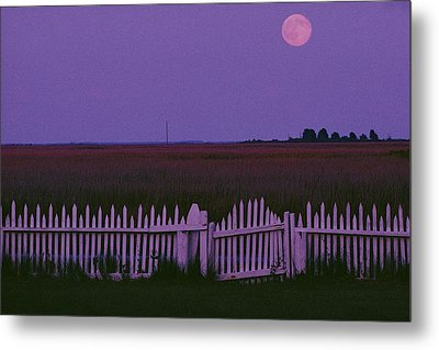 Full Moon Rising Over A Picket Fence Metal Print by Robert Madden