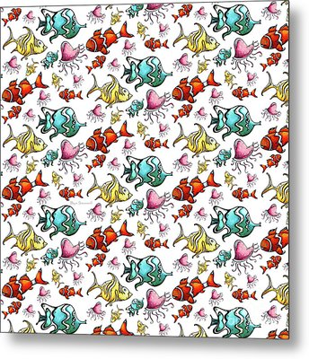Fun Colorful Tropical Fish Pattern For Kids By Megan Duncanson Metal Print by Megan Duncanson