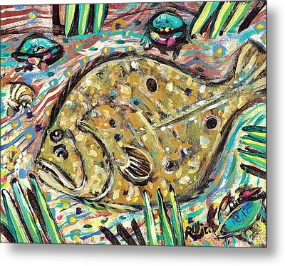 Funky Folk Flounder Metal Print by Robert Wolverton Jr