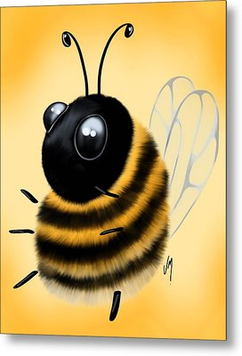 Metal Print featuring the painting Funny Bee by Veronica Minozzi