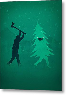 Funny Cartoon Christmas Tree Is Chased By Lumberjack Run Forrest Run Metal Print by Philipp Rietz