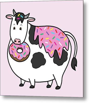 Funny Fat Holstein Cow Sprinkle Doughnut Metal Print