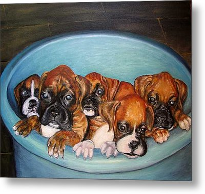 Funny Puppies Orginal Oil Painting Metal Print by Natalja Picugina