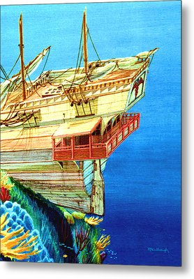 Galleon On The Reef 2 Filtered Metal Print