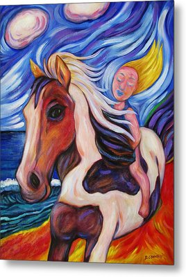 Metal Print featuring the painting Gallop Along The Beach by Dianne  Connolly