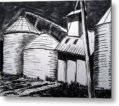 Galvanized Silos Waiting Metal Print by Charlie Spear