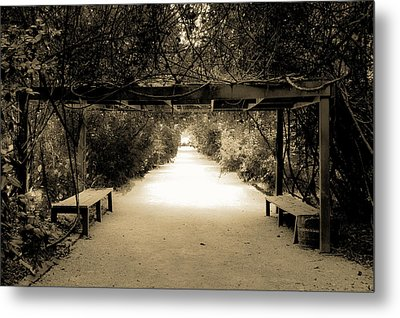 Garden Arbor In Sepia Metal Print by DigiArt Diaries by Vicky B Fuller