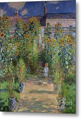 Garden At Vetheuil Metal Print by Claude Monet