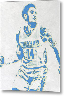 Gary Harris Denver Nuggets Pixel Art Metal Print by Joe Hamilton