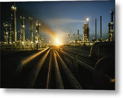 Gas Fires Light The Sky As A Heavily Metal Print by Thomas J. Abercrombie