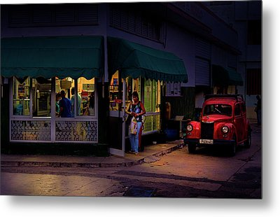 Gasolinera Linea Y Calle E Havana Cuba Metal Print by Charles Harden