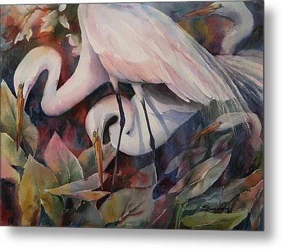 Gathering Egrets Metal Print by Sue Zimmermann