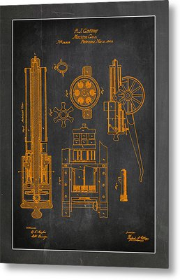 Gatlin Machine Gun Drawing  Metal Print by Brian Reaves
