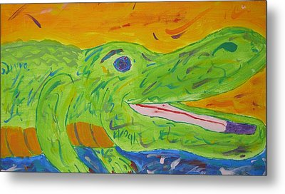 Gator In Bloom Metal Print by Yshua The Painter
