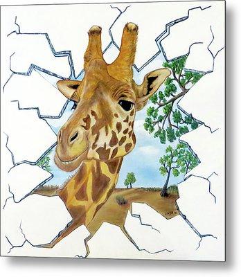 Metal Print featuring the painting Gazing Giraffe by Teresa Wing