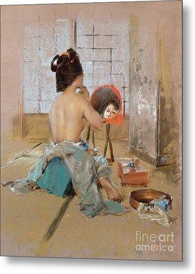 Geisha At Her Toilet  Metal Print by Robert Frederick Blum