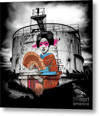 Geisha Graffiti Metal Print by Adrian Evans