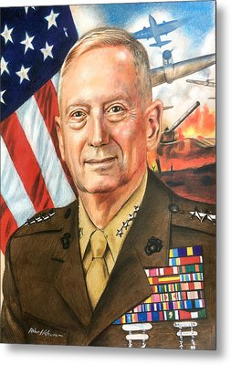 General Mattis Portrait Metal Print by Robert Korhonen