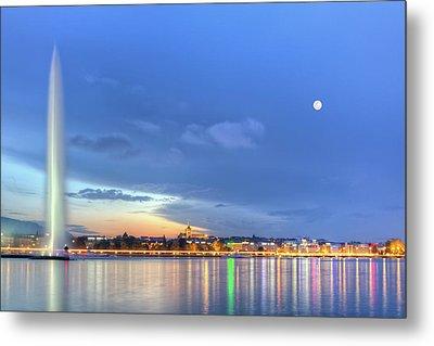 Geneva Lake With Famous Fountain, Switzerland, Hdr Metal Print by Elenarts - Elena Duvernay photo