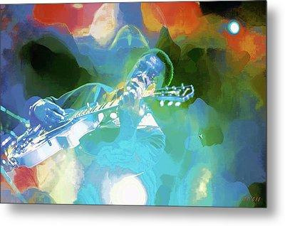 George Benson, Watercolor Metal Print