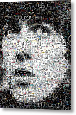 George Harrison Mosaic Metal Print by Paul Van Scott