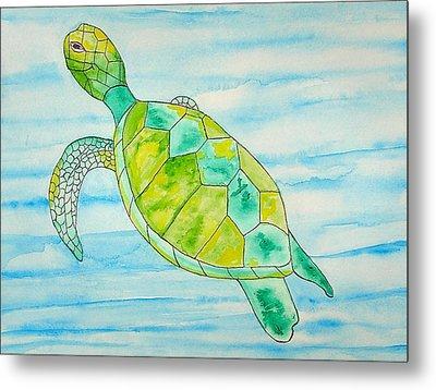 Metal Print featuring the painting George The Hawaiian Sea Turtle by Erika Swartzkopf