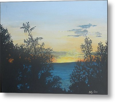 Metal Print featuring the painting Georgian Bay Sunset by Betty-Anne McDonald