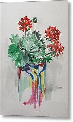 Geraniums In Vase Metal Print by Rita Fetisov