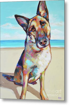 German Shepard On The Beach Metal Print