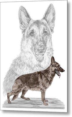 German Shepherd Art Print - Color Tinted Metal Print by Kelli Swan