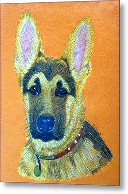 Metal Print featuring the drawing German Shepherd Dog by Terri Mills