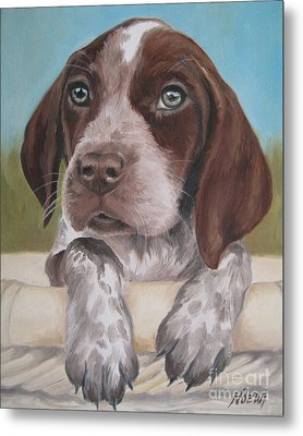 Metal Print featuring the painting German Shorhaired Pointer Puppy by Jindra Noewi