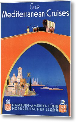 Germany Hamburg Vintage Travel Poster Restored Metal Print by Carsten Reisinger