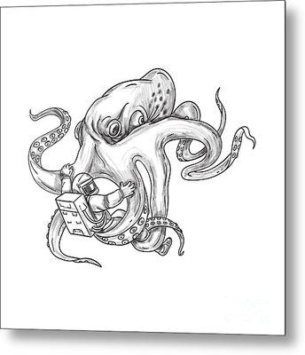 Giant Octopus Fighting Astronaut Tattoo Metal Print by Aloysius Patrimonio