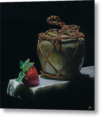 Ginger Jar And Strawberry Metal Print by Jeffrey Hayes