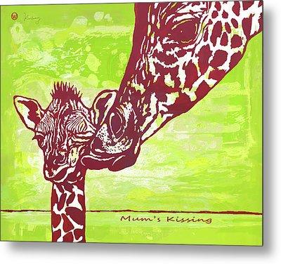 Mum's Kissing - Giraffe Stylised Pop Art Poster Metal Print by Kim Wang