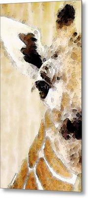 Giraffe Art - Side View Metal Print by Sharon Cummings